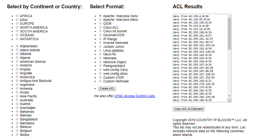 allow or block countries using country ip blocks